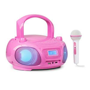 Roadie Sing Radiocassette lecteur CD MP3 radio FM Show lumineux micro rose
