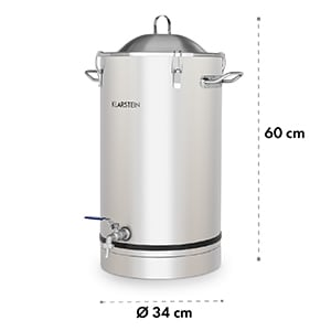 Maischfest Fermentierkessel 30 Liter Gärröhrchen 304-Edelstahl