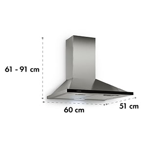 Galina, odsavač par, 60cm, 350m³ / h, LED, nerezová ocel, akrylové sklo