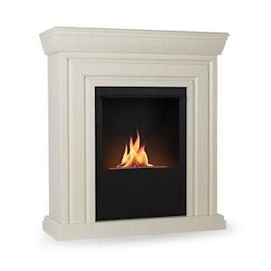 Phantasma Cottage Ethanol-Kamin | Brennkammer mit 750 ml Volumen  | 3 Stunden Brenndauer | inklusive Löschhilfe | Korpus aus MDF | weiß