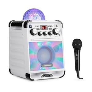 Rockstar LED Karaokeanlage CD-Player Bluetooth AUX 2 x 6,3mm weiß