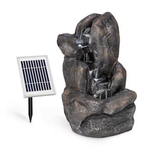 Felsquell Solar-Kaskadenbrunnen Akkubetrieb 2 kW Solarpanel 3 LEDs