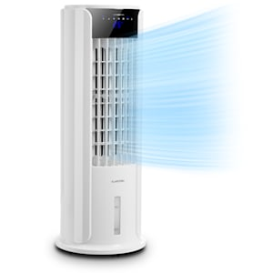 Klarstein Skyscraper Horizon Enfriador de aire y ventilador de 60 W, 486 m³/h Depósito de agua de 3,5L Blanco