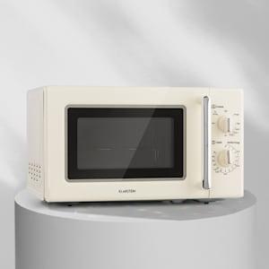 Klarstein Caroline kuchenka mikrofalowa 20l 700 / 1000 W Ø25,6cm QuickSelect retro kremowa