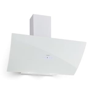 Annabelle 90 Dunstabzugshaube | Kopffreihaube | Wandmontage | Abluftleistung: 615 m3/h | Touch-Armatur | LED-Display | weiße Sicherheitsglas-Front | 2 x 2 W LEDs | Aluminium-Fettfilter | 2-teiliger Kamin 40 - 75 cm Höhe