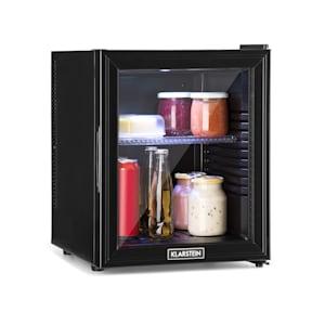 Brooklyn 32L Minibar Mini-Kühlschrank | Thermoelektrisches Kühlsystem | 32 Liter Fassungsvermögen | 3-stufige Kühlung bis 12 °C | EcoExcellence System: Klasse A | geräuschlos: 0 dB | flexibler Kunststoffboden | LED-Licht | Panorama-Glastür | schwarz