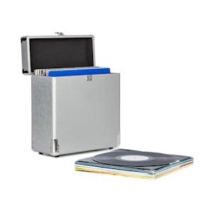 Vinylbox Alu Plattenkoffer für bis zu 30 Schallplatten Klappdeckel silber