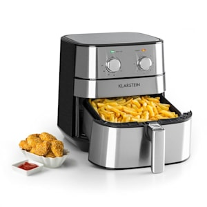 AeroVital Hot Air Fryer 1700W 5.4 Litre Timer Stainless Steel Silver