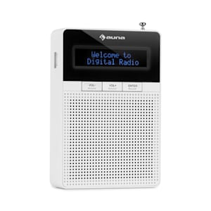 DigiPlug DAB Steckdosen-Radio, DAB+, UKW/PLL, BT, LCD-Display, weiß