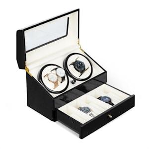 Geneva Remontoir automatique pour 4 montres 4 programmes tiroir - noir