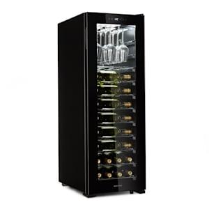 Bellevin 62 Weinkühlschrank | Kompressor | 173 Liter | 56 Flaschen | 1 Kühlzone für 5 - 20 °C | Energieeffizienzklasse A | Weinglasregal bis 15 Gläser | Vibrationsarm | 10 Metalleinschübe | Panoramaglastür | Touch-Bedienung | schwarz