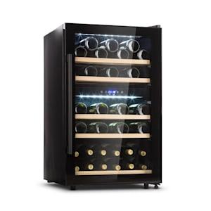 Barossa 40D Weinkühlschrank 2 Zonen 135 L 41 Flaschen Glastür Touch LED schwarz