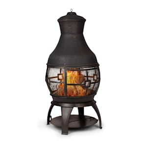Titus Garden Fireplace Cast Iron 360 ° FireView Stainless Safe Stand
