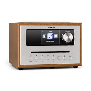 auna Silver Star CD Cube Radio Bluetooth HCC Display wood brown