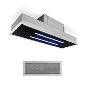 High Line Deckenhaube | Einbau | 77 cm | EEK C | 410 m3/h | Umluft und Abluft | Touch Control | 3 Stufen | LED | RGB Ambiente-Beleuchtung | Fernbedienung & Aktivkohlefilter | Dunstabzugshaube | Unterbauhaube | Edelstahl/schwarzes Glas