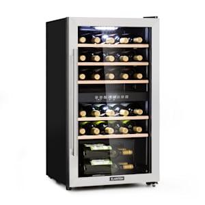 Vinamour 29 Duo frigorifico de vinho | refrigerador de compressão | 2 zonas | 80l / 29 garrafas | temperatura de arrefecimento: 5-22 °C | 41 dB | EEK: G | iluminação interior LED branca | controlo por toque | porta de aço inoxidável com janela panorâmica