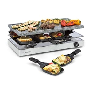 Gourmette, raclette grillező, 1200 W, természetes kő grill lemez, 8 személy, nemesacél