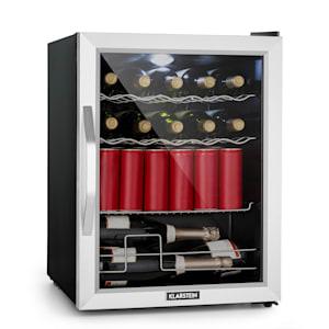 Beersafe XL Onyx koelkast drankenkoelkast | volume: 60 liter | 1 metalen schap, 2 flessenroosters en 1 Champagnerek | interne temperatuur van 0 tot 13 °C | draaiknop | dubbel geïsoleerde glazen deur | vrijstaand | led