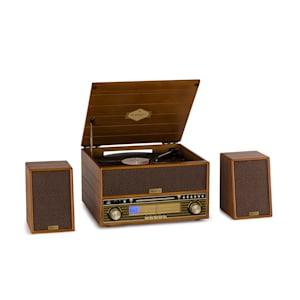 Belle Epoque 1910 Retro-Stereoanlage Plattenspieler CD-Player Lautsprecher