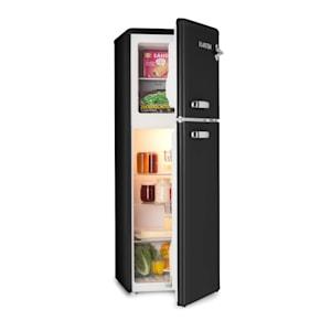Audrey Retro-Kühl- & Gefrierkombination | 97 l Kühlschrank & 39 l Gefrierfach | 2 Glasböden | Gemüsefach | Kühltemperatur: 0 - 10 °C stufenlos | Gefriertemperatur: -18 °C | Betriebsgeräusch: 41 dB | EEK: F | Flaschenöffner