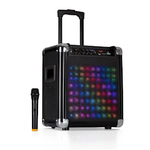 """Moving 80.2 LED PA System 8"""" Woofer 100W Max. VHF Mic USB SD BT AUX Mobile"""