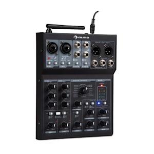 Blackbird 6-Kanal Mixer Mischpult, BT, USB, MP3, 2 x XLR-Micro, schwarz