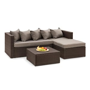 Theia Lounge Set Garden Set Corner Couch Stool 5 Cushions Brown