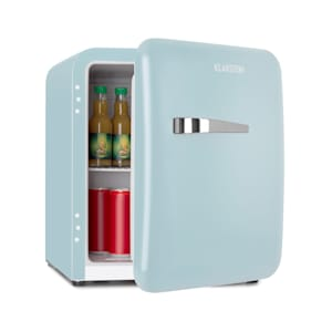 Audrey Mini retro koelkast mini-koelkast drankkoelkast | energie-efficiëntieklasse F | 48 liter inhoud | 2 niveaus | koeltemperatuur: 0 - 10 °C | VintAge Concept: jaren 50 retro stijl | flessenvak & eierbakje