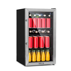 Beersafe 3XL koelkast drankkoelkast | Volume: 98 liter | 4 verchroomde metalen inlegplateaus | Per graad instelbare binnentemperatuur van 0 tot 10 °C | 7 standen | Draaiknop | Dubbel geïsoleerde glazen deur | Vrijstaand | Led | Front van rvs