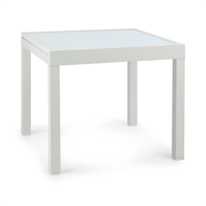 Pamplona Extension table de jardin 180 x 83 cm max. aluminium verre blanc