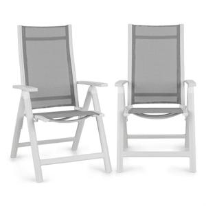 Cádiz Juego de 2 sillas plegables 59,5 x 107 x 68 cm ComfortMesh Aluminio Blancas