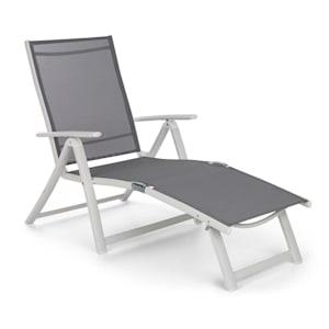 Pomporto Lounge ligstoel PVC PE aluminium 7-posities wit/lichtgrijs