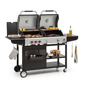 Hot & hot, kombi grill, 8,5 kW, 3 gázégő, állítható magasság, fekete