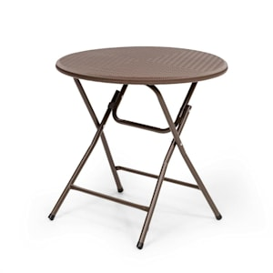 Burgos Round Folding Table Polyrattan 80 cm Ø Table Surface 4 pers. Brown