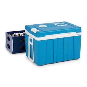 BeerPacker Thermoelektrische Kühl-/Warmhalte-Box | 50  Liter | A+++ | 12 V und 230 V | Eco-Modus | mobil: inkl. Tragegriffen, Zugstange und Bodenrollen | für Auto, LKW, Camping | für Bierkasten | blau