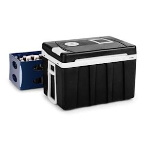 BeerPacker Thermoelektrische Kühl-/Warmhalte-Box | 50 Liter | A+++  | 12 V und 230 V | Eco-Modus | mobil: inkl. Tragegriffen, Zugstange und  Bodenrollen | für Auto, LKW, Camping | für Bierkasten | schwarz