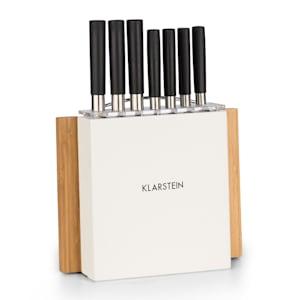 Klarstein Kitano Plus Set de cuchillos 9 piezas Bloque de madera-tabla de corte de bambú Blanco