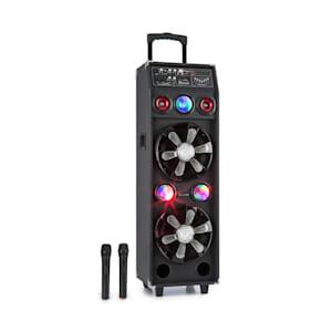 DisGo Box 2100 PA-Anlage 100W RMS BT SD-Slot LEDs USB Akku schwarz