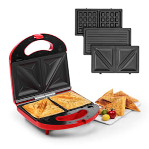 Trilit 3-in-1 Sandwich Maker 750W 3 bakplaten LED anti-aanbaklaag rood