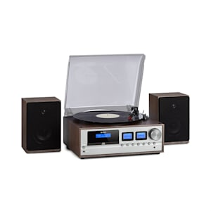 Oxford Retro-Stereoanlage DAB+/FM BT-Funktion Vinyl CD AUX-In Dunkelgrau