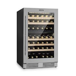 Vinovilla Duo 79 Weinkühlschrank | 59,5 cm | 189 Liter | 79 Weinflaschen | freistehend oder als Unterbau | EEK A | 2 Kühlzonen | LED-Innenbeleuchtung | 5 Buchenholzeinschübe | Touch-Control | Weinkühler | Edelstahl