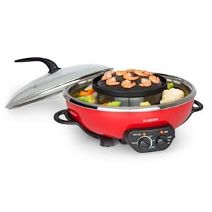 Szechuan, hot pot и тава за грил, вместимост 5 l, 1350 W, 600 W, червен