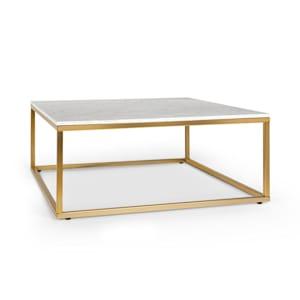White Pearl II, dohányzóasztal, 81,5 x 35 x 81,5 cm (SZ x M x M), márvány, arany/fehér