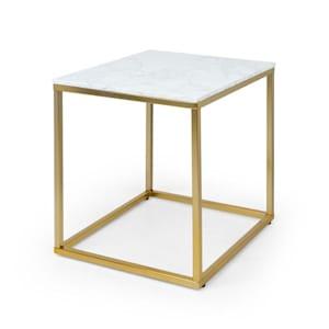 White Pearl I soffbord 50x50x50cm (BxHxT) marmor guld / vit