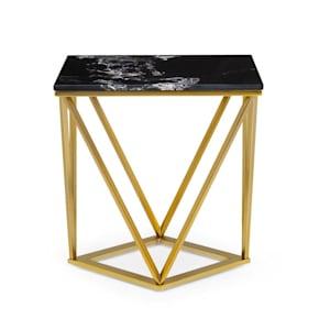 Black Onyx II Couchtisch 50x55x35cm (BxHxT) Marmor Gold / Schwarz