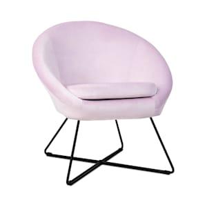 Emily, kárpitozott szék, hab belső rész, poliészter felület, bársony, acél, rózsaszín