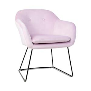 Zoe, kárpitozott szék, habszivacs bélés, poliészter huzat, bársony, acél, rózsaszín