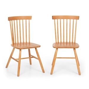 Fynn Wooden Chair Pair Beech Wood Windsor Design Wood