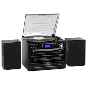 388-DAB+ Stereoanlage 20W max. Vinyl CD Kassette BT FM/DAB+ USB SD schwarz