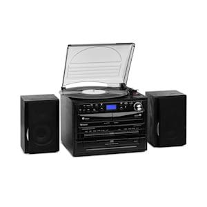 388-DAB+ Impianto Stereo 20W max. Vinile CD Cassette BT FM/DAB+ USB SD nero